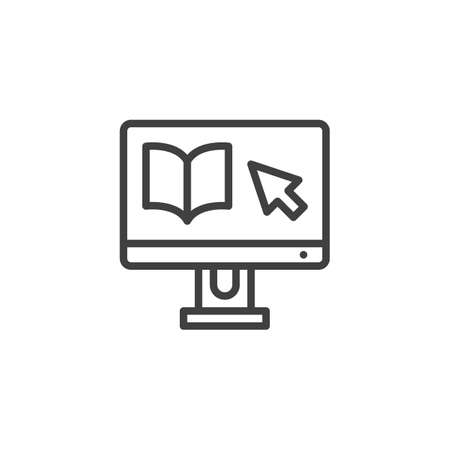 Online Education line icon. linear style sign for mobile concept and web design. E-book on computer monitor outline vector icon. Symbol, illustration. Vector graphics