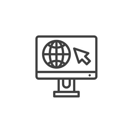 World distance education line icon. Computer monitor with globe linear style sign for mobile concept and web design. Global e-learning outline vector icon. Symbol, illustration.