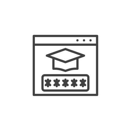 Student account password line icon. linear style sign for mobile concept and web design. E-learning login authentication outline vector icon. Symbol, illustration. Vector graphics Ilustração