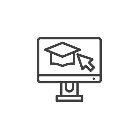 Computer monitor with graduation cap line icon. linear style sign for mobile concept and web design. Online learning, e-learning outline vector icon. Symbol, illustration. Vector graphics Ilustração