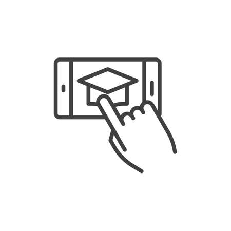 Smartphone with graduation cap line icon. linear style sign for mobile concept and web design. Online e-learning education outline vector icon. Symbol, illustration. Vector graphics Ilustração