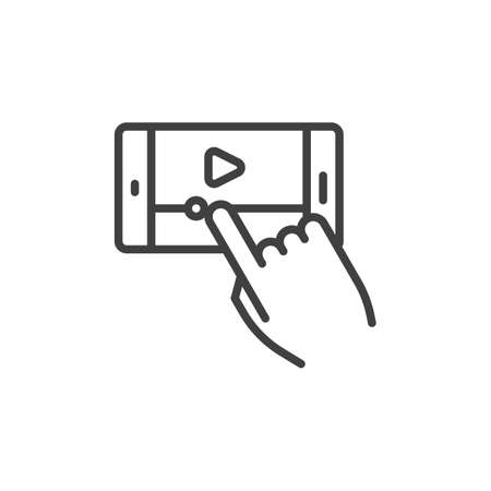 Mobile phone video player line icon. linear style sign for mobile concept and web design. Smartphone Media player control outline vector icon. Symbol, illustration. Vector graphics