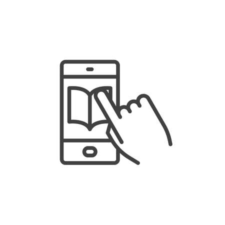 Mobile phone e-learning app line icon. Online education linear style sign for mobile concept and web design. Smartphone with ebook outline vector icon. Symbol, illustration. Vector graphics Ilustração