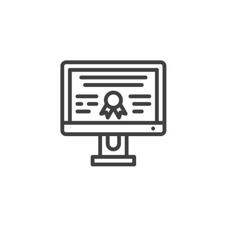 Online Graduate Certificate line icon. linear style sign for mobile concept and web design. E-learning distance graduate outline vector icon. Symbol, illustration. Vector graphics