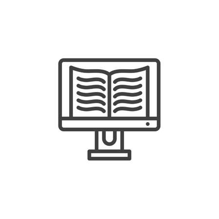 Online book reading line icon. linear style sign for mobile concept and web design. Computer display with e-book outline vector icon. E-learning symbol, illustration. Vector graphics