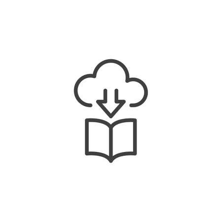 eBook download cloud line icon. linear style sign for mobile concept and web design. Online book store outline vector icon. Symbol, illustration. Vector graphics Ilustração