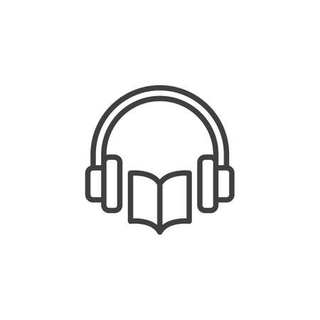 Audio book line icon. linear style sign for mobile concept and web design. Book and headphones outline vector icon. Symbol, illustration. Vector graphics