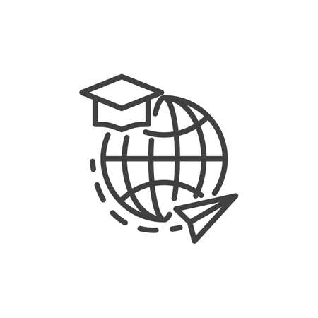 Online education, e-learning line icon. linear style sign for mobile concept and web design. Globe with graduation hat and plane outline vector icon. Symbol, illustration. Vector graphics