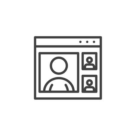 E-learning, webinar training line icon. linear style sign for mobile concept and web design. Online video training outline vector icon. Symbol, illustration. Vector graphics