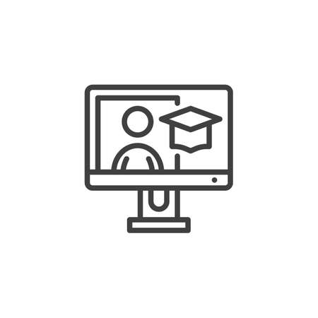 Online academic course line icon. linear style sign for mobile concept and web design. E-learning, online education outline vector icon. Symbol, illustration. Vector graphics Ilustração