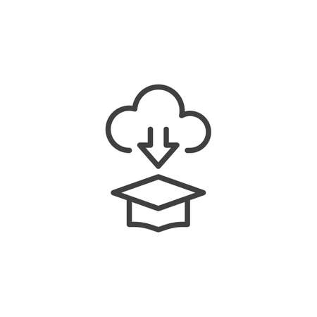 Online education, e-learning line icon. linear style sign for mobile concept and web design. Graduation cap and cloud computing outline vector icon. Symbol, illustration. Vector graphics