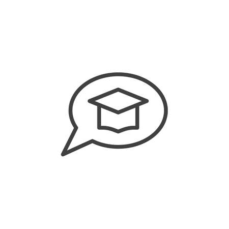 Speech bubble with graduation cap line icon. linear style sign for mobile concept and web design. E-learning chat message outline vector icon. Symbol, illustration. Vector graphics