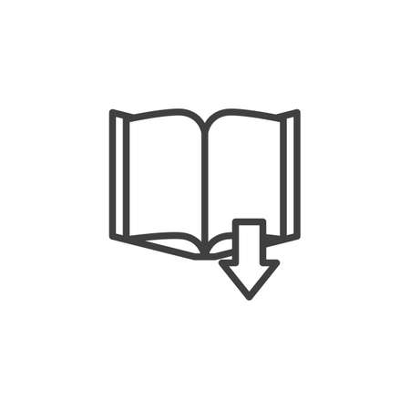 Download book line icon. linear style sign for mobile concept and web design. Online book store library outline vector icon. Symbol, illustration. Vector graphics