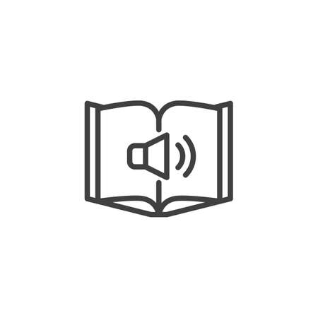Audio book line icon. linear style sign for mobile concept and web design. Book and speaker outline vector icon. Symbol, illustration. Vector graphics Ilustração