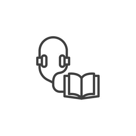 Audio guide line icon. Open book and headphones linear style sign for mobile concept and web design. Audio book outline vector icon. Symbol, illustration. Vector graphics