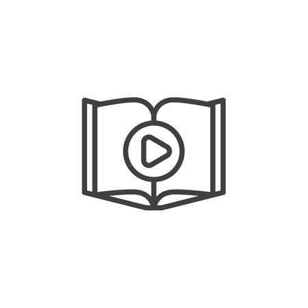 Audio book play line icon. linear style sign for mobile concept and web design. Open book pages and play button outline vector icon. E-learning, online education symbol, illustration.