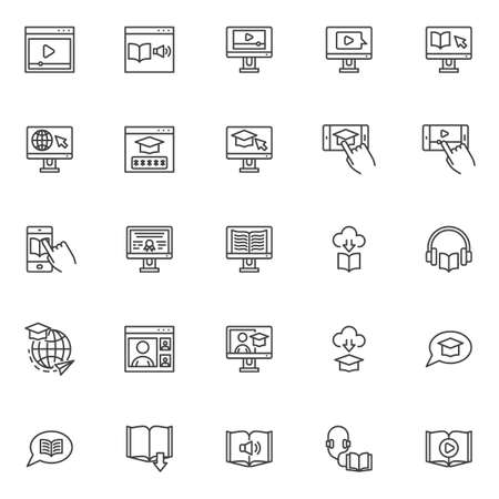 E-learning line icons set. Online education linear style symbols collection, outline signs pack. vector graphics. Set includes icons - audiobook, webinar, graduation cap, distance learning, university
