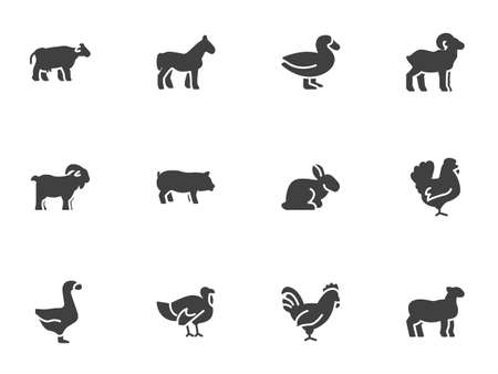 Farm animals vector icons set, modern solid symbol collection, filled style pictogram pack. Signs, illustration. Set includes icons as cow, pig, sheep, goat, rooster, chicken, turkey, rabbit, hen Vettoriali