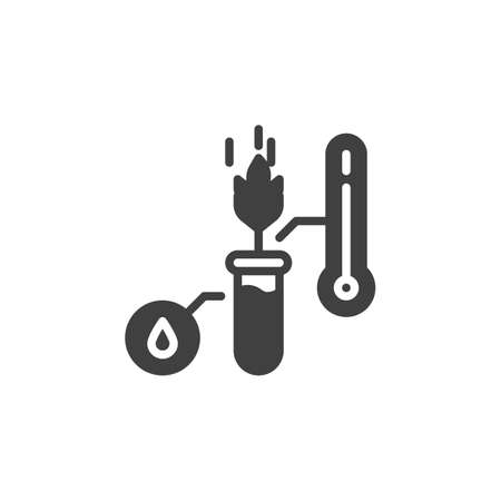 Eco wheat growing lvector icon. filled flat sign for mobile concept and web design. Cereal laboratory test glyph icon. Farming and agriculture symbol, logo illustration. Vector graphics