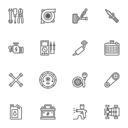 Car parts line icons set, outline vector symbol collection, automotive repair linear style pictogram pack. Signs, illustration. Set includes icons as spark plug, engine, battery, vehicle exhaust Vetores