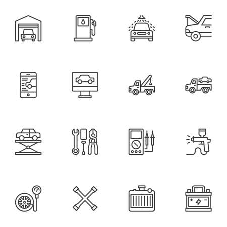 Car repair service line icons set, outline vector symbol collection, automotive repair linear style pictogram pack. Signs, illustration. Set includes icons as car computer diagnostics, garage Vettoriali