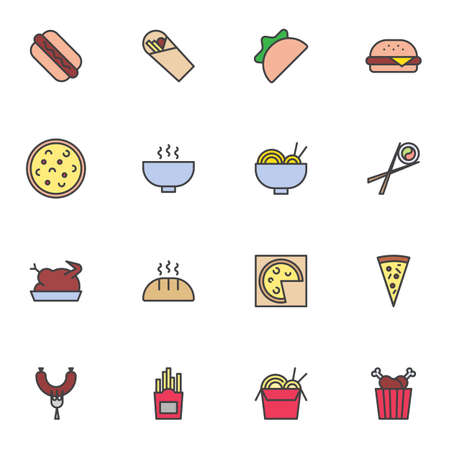 Fast food menu filled outline icons set, line vector symbol collection, junk food linear colorful pictogram pack. Signs, illustration, Set includes icons as hot dog, taco, hamburger, sushi roll