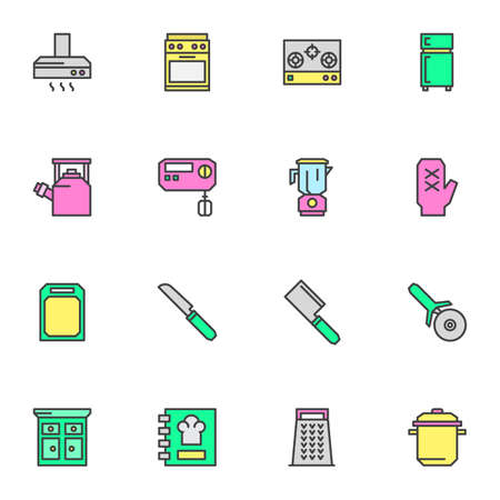Kitchen utensils filled outline icons set, line vector symbol collection, linear colorful pictogram pack. Signs, illustration, Set includes icons as electric stove, refrigerator, knife, cookbook