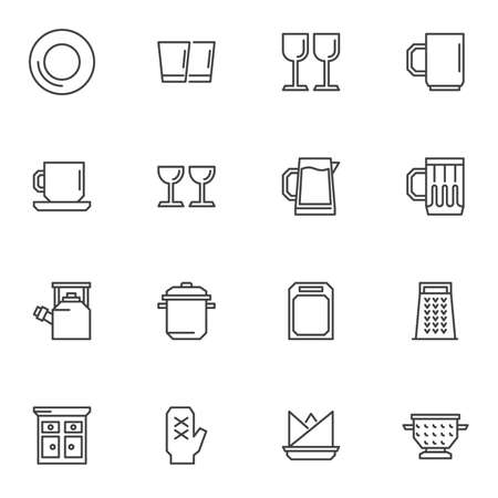 Tableware, crockery line icons set, outline vector symbol collection, linear style pictogram pack. Signs, illustration. Set includes icons as plate, wine glass, pitchers, cutting board, kitchen