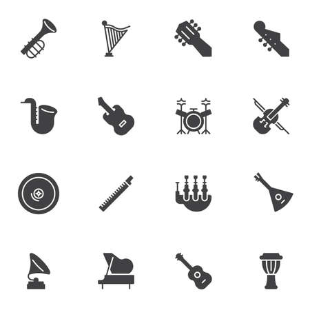 Musical instruments vector icons set, modern solid symbol collection, filled style pictogram pack. Signs, illustration. Set includes icons as guitar, saxophone, djembe, drum set, piano, violin Çizim