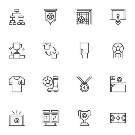 Soccer game line icons set, outline vector symbol collection, linear style pictogram pack. Signs, illustration. Set includes icons as corner kick, player substitution, football field, goal, ball Иллюстрация