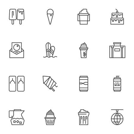 Summer party line icons set, outline vector symbol collection, linear style pictogram pack. Signs, illustration. Set includes icons as sunblock, ice cream, cake, travel bag, surfing board, drink Vettoriali