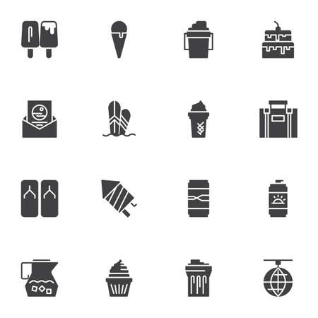 Summer party vector icons set, modern solid symbol collection, filled style pictogram pack. Signs, illustration. Set includes icons as sunblock, ice cream, cake, travel bag, surfing board, drink