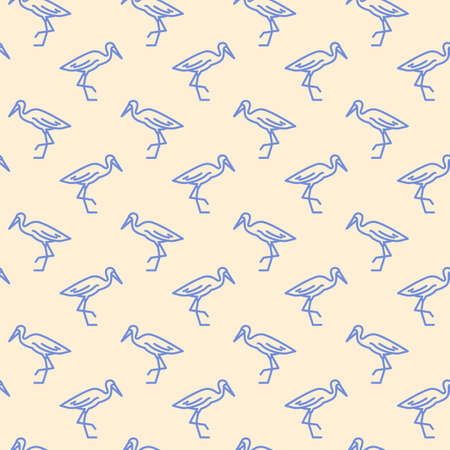 Stork bird icons pattern. Stork animal seamless background. Seamless pattern vector illustration Ilustração