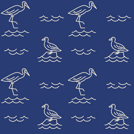 Ocean animals icons pattern. Birds seamless background. Seamless pattern vector illustration