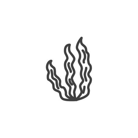 Sea weed line icon. linear style sign for mobile concept and web design. Seaweed leaves outline vector icon. Symbol, illustration. Vector graphics