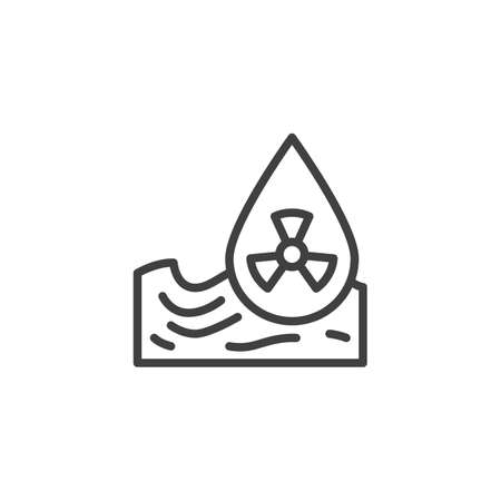 Radioactive Waste, water pollution line icon. linear style sign for mobile concept and web design. Ocean pollution outline vector icon. Symbol, illustration. Vector graphics Vectores