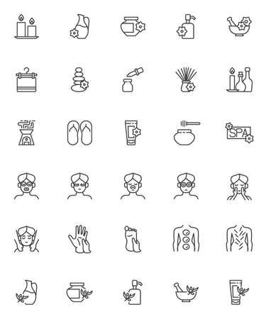 Spa salon line icons set. Wellness linear style symbols collection, outline signs pack. vector graphics. Set includes icons as face massage, essential oil, hot stone therapy, aromatherapy, acupuncture