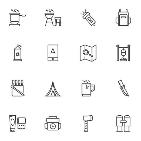 Camping trip line icons set, outline vector symbol collection, linear style pictogram pack. Signs, illustration. Set includes icons as backpack, camping tent, navigation map, flashlight, knife Ilustracja