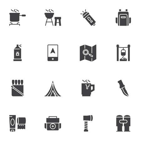 Camping trip vector icons set, modern solid symbol collection, filled style pictogram pack. Signs, illustration. Set includes icons as backpack, camping tent, navigation map, flashlight, knife