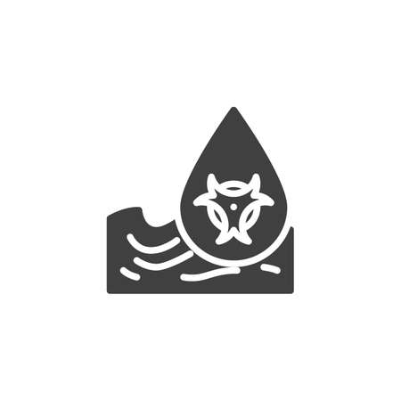 Ocean pollution waste vector icon. filled flat sign for mobile concept and web design. Radioactive Waste, water pollution glyph icon. Symbol, illustration. Vector graphics
