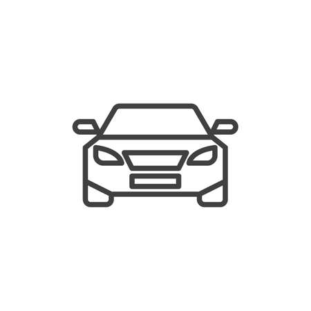 Car, front view line icon. Automobile linear style sign for mobile concept and web design. Vehicle, car outline vector icon. Transportation symbol, illustration. Vector graphics Vektorgrafik