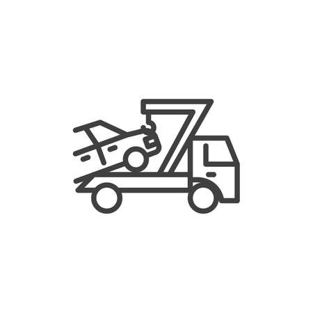 Car towing truck line icon. linear style sign for mobile concept and web design. Auto towing outline vector icon. Symbol, illustration. Vector graphics