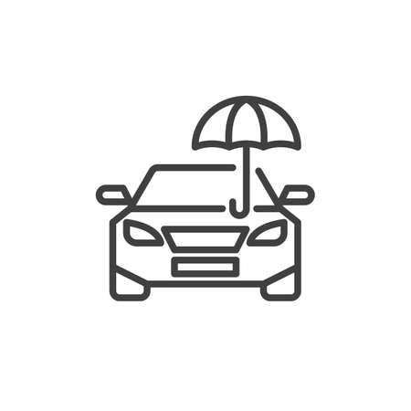 Car insurance line icon. linear style sign for mobile concept and web design. Car and umbrella outline vector icon. Symbol, illustration. Vector graphics