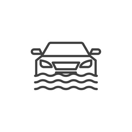 Car flood, disaster insurance line icon. linear style sign for mobile concept and web design. Car sinking outline vector icon. Symbol, illustration. Vector graphics