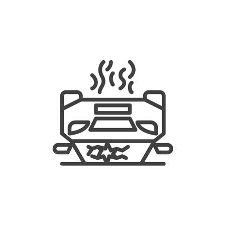 Crashed Car line icon. Overturned Vehicle linear style sign for mobile concept and web design. Car upside down outline vector icon. Symbol, illustration. Vector graphics Ilustracja