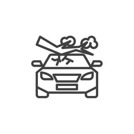 Tree fall down on car line icon. linear style sign for mobile concept and web design. Car crushed by tree outline vector icon. Auto disaster insurance symbol, illustration. Vector graphics Ilustracja