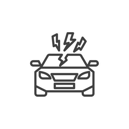 Car disaster insurance line icon. linear style sign for mobile concept and web design. Car and lightning outline vector icon. Auto insurance symbol, illustration. Vector graphics