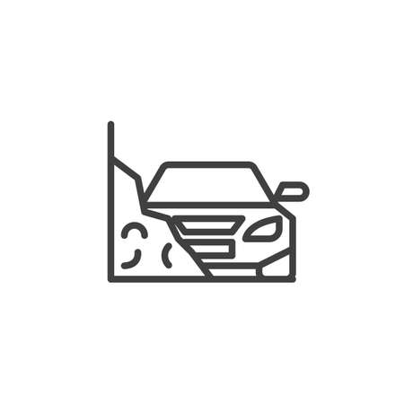 Car accident insurance line icon. linear style sign for mobile concept and web design. Car crash in a mountain road outline vector icon. Symbol, illustration. Vector graphics