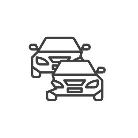Two cars accident line icon. linear style sign for mobile concept and web design. Car crash outline vector icon. Automobile insurance symbol, illustration. Vector graphics