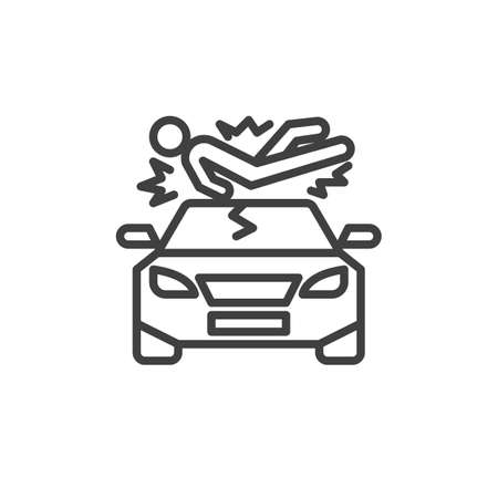 Pedestrian accident line icon. linear style sign for mobile concept and web design. Pedestrian hit by a car outline vector icon. Symbol, illustration. Vector graphics